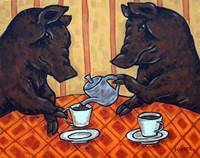 Brown Pigs Having Tea