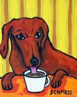 Dachshund at the Cafe