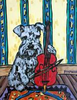 Schnauzer Practicing the Cello