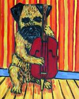 Border Terrier Playing Stand up Bass