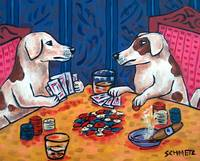 Jack Russell terriers Playing Poker
