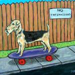 """Airedale pon a Skateboard"" by lulunjay"