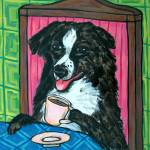 """Australian Shepherd at the Coffee Shop Cafe"" by lulunjay"