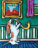 Basset Hound Playing the Saxophone