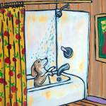 """Beagle in  the Shower"" by lulunjay"