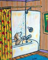 Beagle in  the Shower