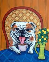 Bulldog at the Cafe