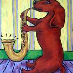 """Dachshund Playing the Saxophone"" by lulunjay"