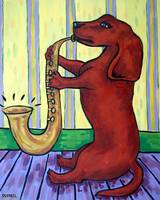 Dachshund Playing the Saxophone