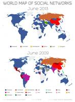 World Map of Social Networks 2009-2013