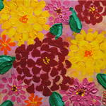 """Bright Zinnias 1"" by ckjonesart"
