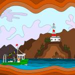 """LIGHTHOUSE AND FISHING BOAT"" by txdave21"