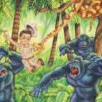"""Jungle, boy, trees, gorilla, snake"" by PhilWilson"