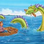 """Loch Ness monster, boy fishing, boy in boat"" by PhilWilson"