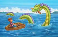 Loch Ness monster, boy fishing, boy in boat
