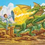"""Dragon, knight fighting dragon, knight and princes"" by PhilWilson"