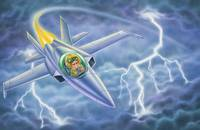 Boy, fighter jet, dark sky, illustration