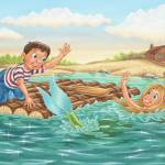 """Mermaid, boy on raft, boy, princess, light house,"" by PhilWilson"