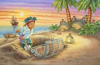 Pirates gold, ship, Indians, jungle, boy, illustra