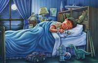 Sleeping boy, sleeping child, kids room, dream, ki