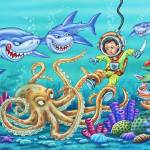 """Octopus, eel, crab, sharks, young boy, diving boy,"" by PhilWilson"