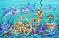 Octopus, eel, crab, sharks, young boy, diving boy,