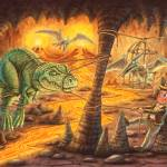"""Boy, dinosaur, lava, middle earth, indiana jones,"" by PhilWilson"