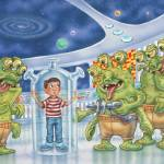 """Aliens, space ship, kids art, space, boy, illustra"" by PhilWilson"