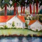 """Lakeside Home Art Landscape"" by BlendaStudio"