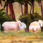 """Sheep in the Meadow Art Painting Landscape"" by BlendaStudio"