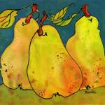 """""""Pears in a Blue Background"""" by BlendaStudio"""