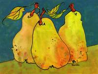 Pears in a Blue Background