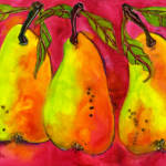"""Three Pears on a Hot Pink Background"" by BlendaStudio"