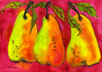 Three Pears on a Hot Pink Background
