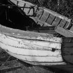 """Rowboat in a Yard_BW_1"" by rathompson"