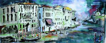 Venice in Blue Grand Canal Painting by Ginette
