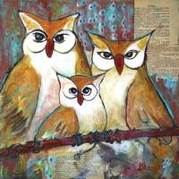 Owl Family Portrait Art