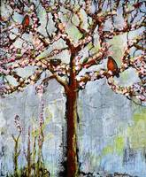 Tree With Blossoms and Robins Art