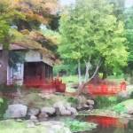 """Japanese Garden With Red Bridge"" by susansartgallery"