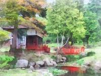 Japanese Garden With Red Bridge