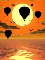Hot Air Balloons at Sunset Illustration