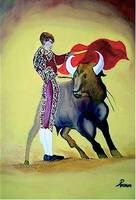 El-Toro-oil-on-canvas-with-sequins-30-x-40