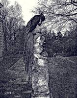 Peacock perched on statue, (black and white).