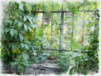 leaf window oil pastel