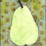 """Light Green Pear Art with Swirls"" by BlendaStudio"