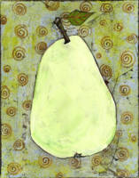 Light Green Pear Art with Swirls