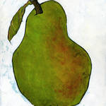 """Green Pear on White Art"" by BlendaStudio"