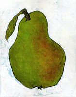 Green Pear on White Art