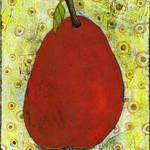 """Red Pear on Circles Art"" by BlendaStudio"