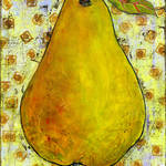 """Yellow Pear On Squares"" by BlendaStudio"